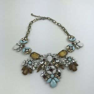 Rhinestone color gem bib necklace costume jewelry